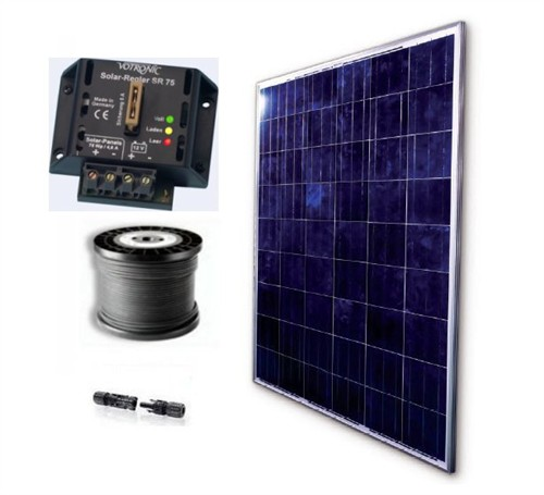 kleine solaranlage 50 watt f r den garten 12v komplettset offgrid autark solar ebay. Black Bedroom Furniture Sets. Home Design Ideas
